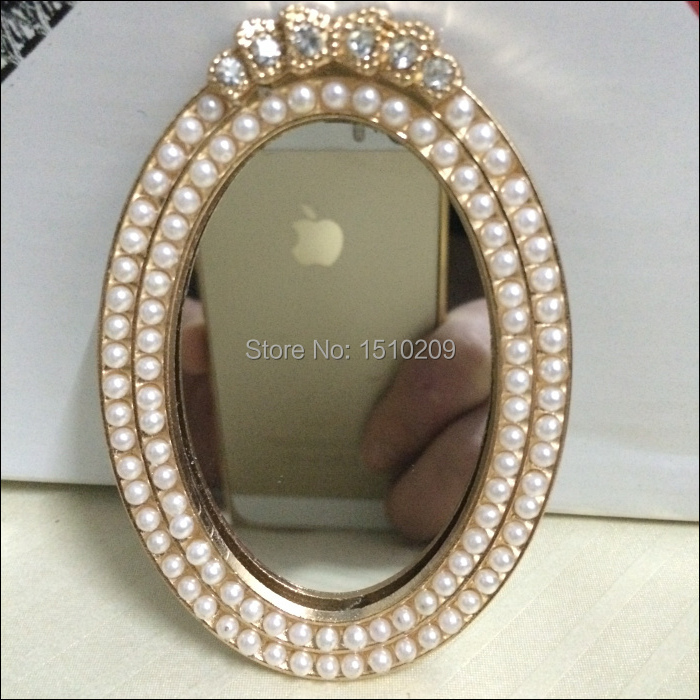 pearl decorated best birthday gift lover gift one side lady makeup one side compact mirror party - Decorated Mirror