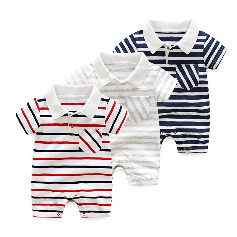 Hot Sale Summer Baby Romper Boys Striped Jumpsuit Short Sleeved Cotton Infant Clothes Kids Romper For Newborn Baby 3m To 12m
