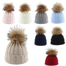 Big Fur Pom pom Beanie Hats Kids Girls Boys Warm Knitted Winter Hat Baby Real Raccoon Fur pompom Beanies Cap цена в Москве и Питере