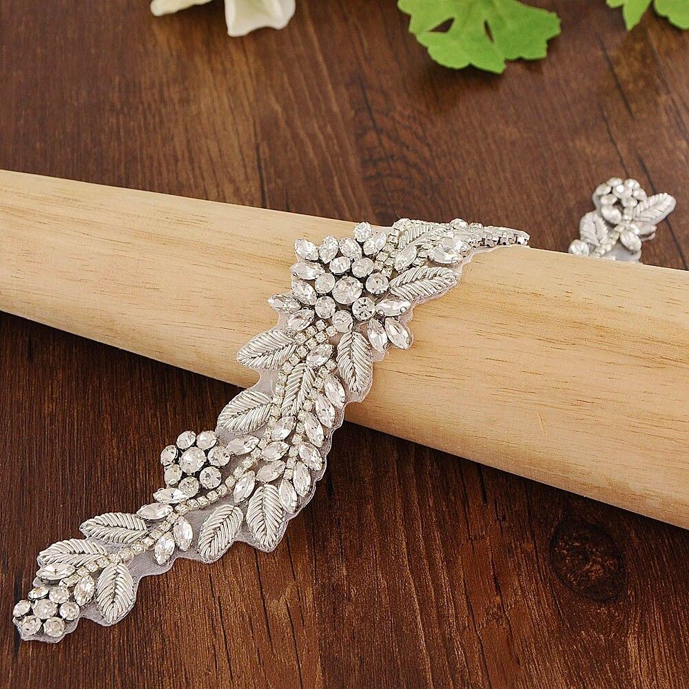 Silver Silk Thread Rhinestones Crystal Applique for Wedding Dress Bridal Gown Applique Bridesmaids Belts Sash by Sewing Hot Fix