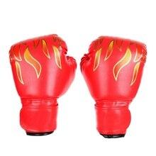 Для детей и взрослых Фитнес Спорт Боксерские перчатки принт пламя утолщение колодки бой кикбоксинг Бои ММА Муай Тай обучение