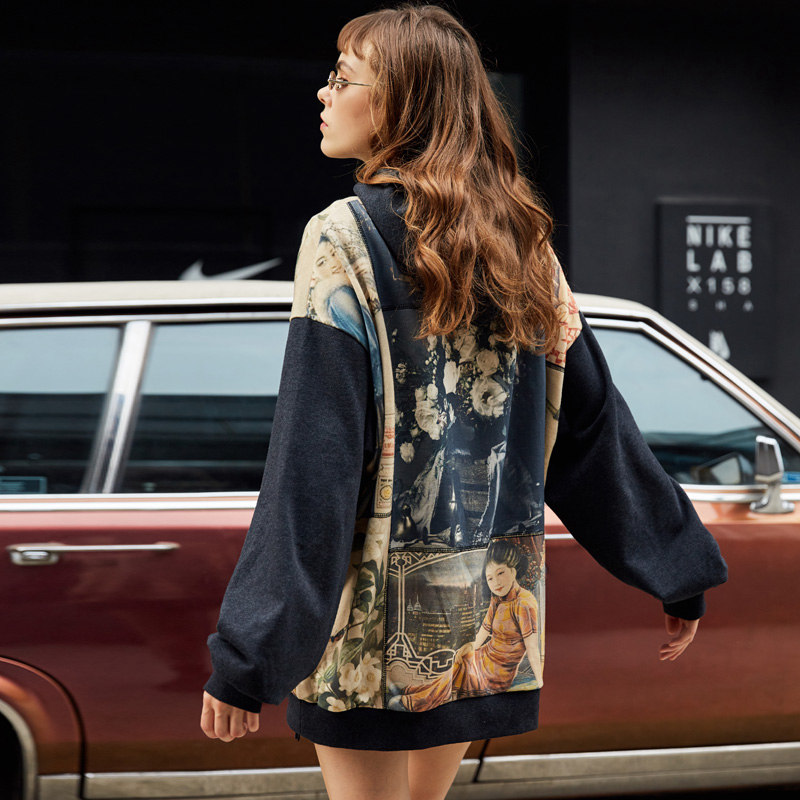 UNIFREE 2019 Autunno nuovo arrivo nazionale marea maglione loose women Hong Kong gusto retro stampa con cappuccio pigro felpa UAA183A031 - 4