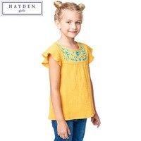 HAYDEN Girl Embroidered Top 13 Years Girls White Ruffle Sleeve T Shirt For Summer Kids Flower