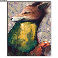 Diy Diamond Painting Cross Stitch Fox & Forest Needlework 3D Diamond Embroidery Full Round Mosaic Decoration Resin Stickers Kits(China)