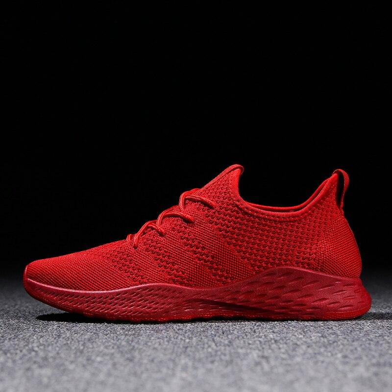 Дышащие мужские кроссовки мужской обуви для взрослых красный черный серый высокое качество Удобная нескользящая Мягкая сетка Мужская обувь 2018 летний Новый