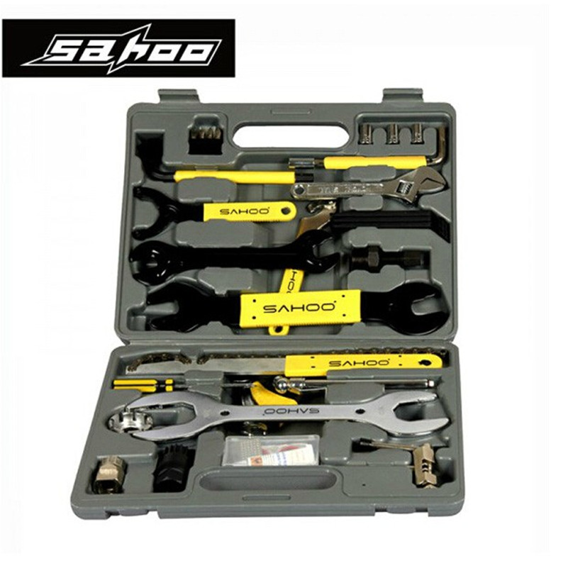 SAHOO Universal Bike Bicycle Repair Tool Set 44 Parts Repair Tool Set Kit Case Box Multifunction Mountain Road Cycling MTB tools 6pcs set foss bicycle tire repair patch mtb road bike tube repair pad tool inner tyre service