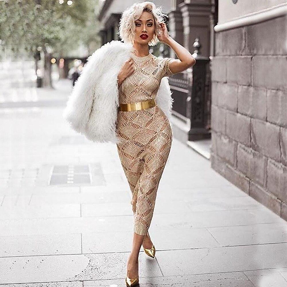 HTB1wItLSpXXXXaAXFXXq6xXFXXXV - 2018 Latest Summer Sexy Dress Rose Gold Knitted Nightclub Party Dresses Women Short Sleeve Fashion Casual Dress