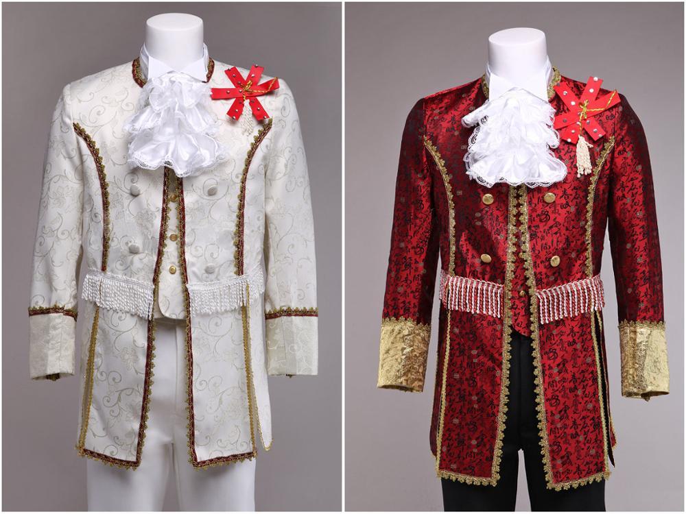 Costume de palais pour hommes rouge/blanc personnalisé Costume Prince Costume médiéval pour hommes