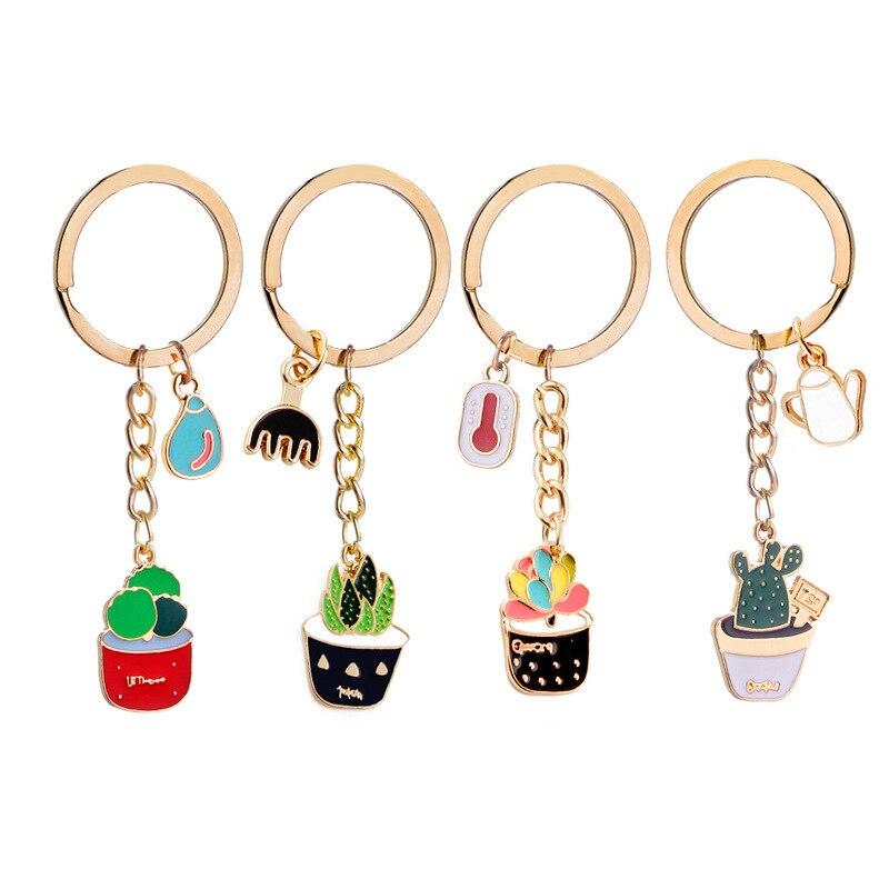 letní styl kaktus sukulentní hrnkové přívěsky na klíče dámské kabelky barevné smalt klíčenka rostliny klíčenka přívěsek na klíče přívěsek na klíče
