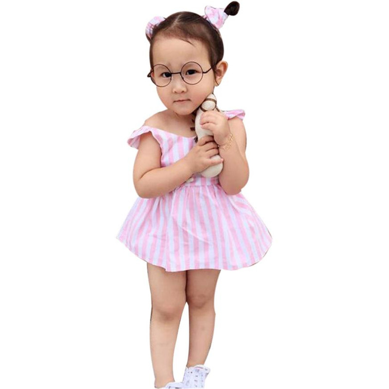 Infant Clothes Summer for girls Baby Clothing Striped Straps Dress Shorts Pants + Headba ...
