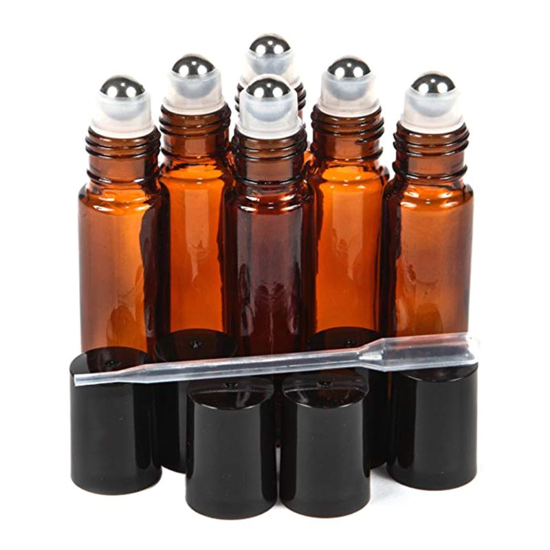 1pc Amber 10 Ml Glass Roll-on Bottles With Stainless Steel Roller Balls