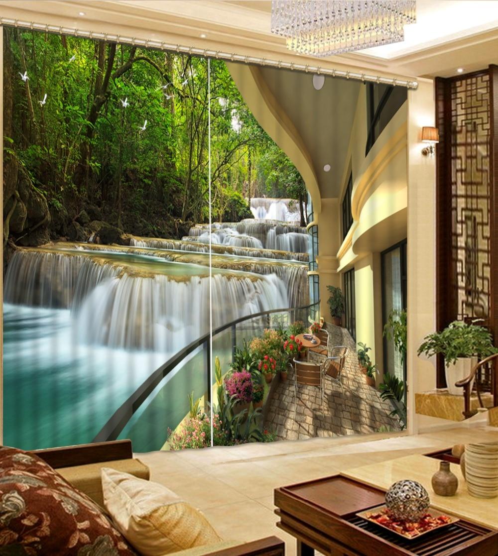 US $68.06 59% di SCONTO|Bianco tende personalizzare 3d tende Cascata  foresta paesaggio di natale tende della finestra tende soggiorno cucina ...