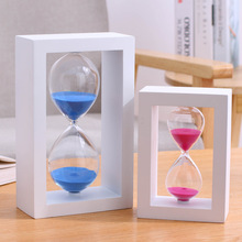45/60 Minutes Hourglass Colorful Wooden Frame Sand Timer Home Desktop Decoration Birthday Xmas Valentines Day Gift