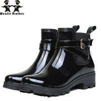 wenjie brother Rain lady Boots Warm Buckle Platform Slip On Pvc Waterproof Motorcycle Bowtie Ankle Flat With Woman rain Shoes