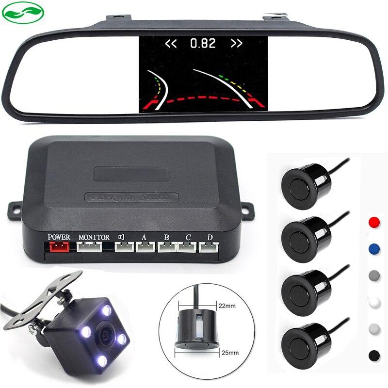 Capteur de stationnement Visible de Radar inverse de voiture de 3in1 avec la caméra de vue arrière intelligente de trajectoire pour le moniteur de miroir de voiture de HD 5