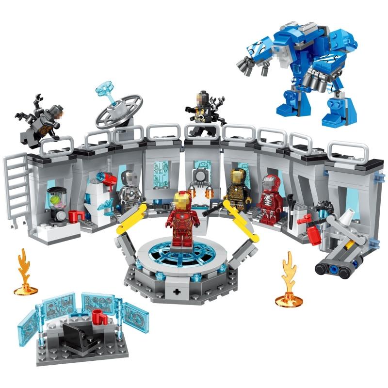 554 pc blocs de construction jouet briques compatibles Legoings marvel ville super-héros Iron Man Mech Showroom briques cadeaux d'anniversaire pour les enfants