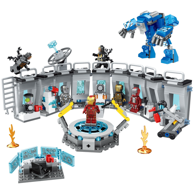 554pc building blocks toy bricks Compatível com city Superhero Ferro Mech Showroom Tijolo iluminai presente de aniversário para o menino criança