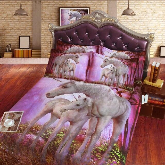 Edredón Sets hermoso 3D madre y bebé unicornio niños HD digital cama ...