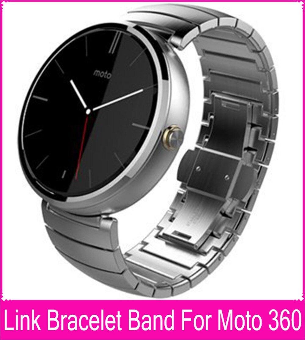 Black Silver 22mm Link Bracelet Steel Watchbands For Moto 360 Band For Motorola Moto 360 Smart Watch + Tools + Connecting Rod motorola smart