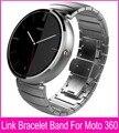 Black Silver 22mm Link Bracelet Steel Watchbands For Moto 360 Band For Motorola Moto 360 Smart Watch + Tools + Connecting Rod