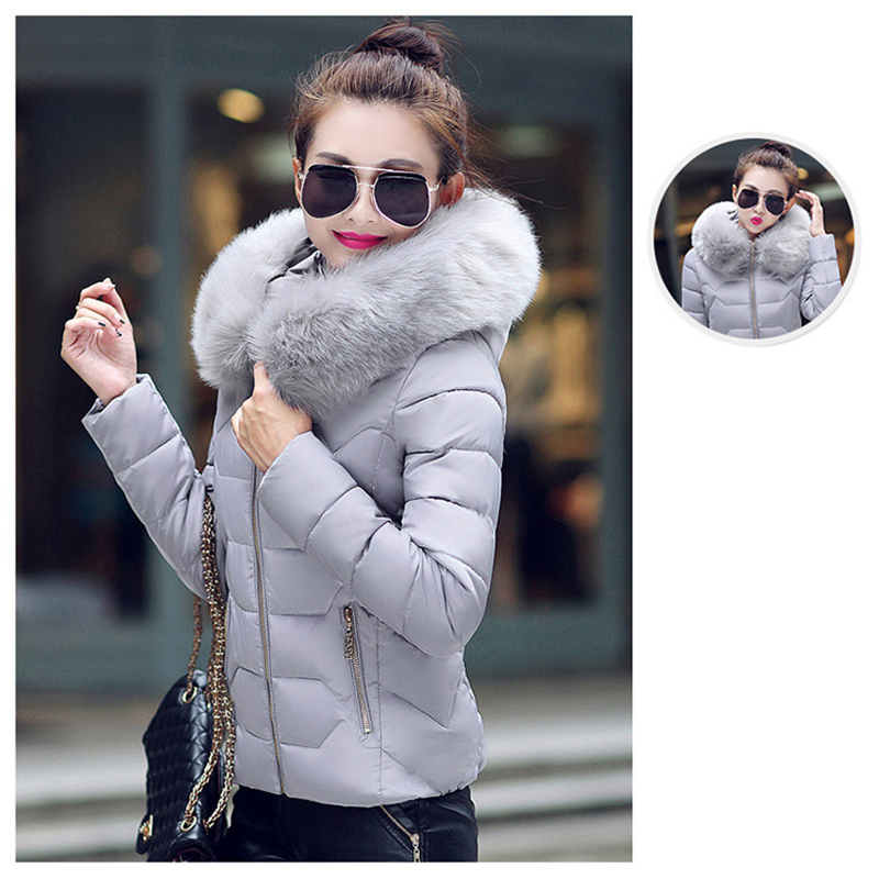 Winter Short Women Jacket Coat Cotton Warm Fur Hooded Parkas Women Outwear Zip Casual Fashion Black Warm Female Coats WT4583 8