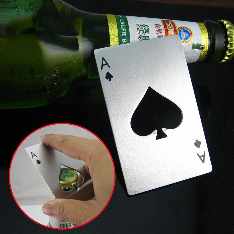 Новый стильный открывалка для бутылок пива покер, игральные карты туз пик панели инструментов Soda Кепки для бутылок подарок Кухня гаджеты Ин...
