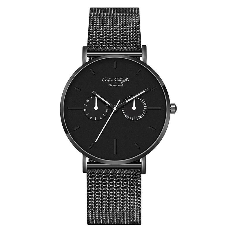 цена Quartz watch Men's luxury high quality waterproof Japanese movement watch Leather strap Mesh belt