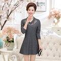 Plus size 4xl bordado pescoço v mulheres dress 2017 nova primavera casual de alta cintura fina de manga comprida vestidos feminino
