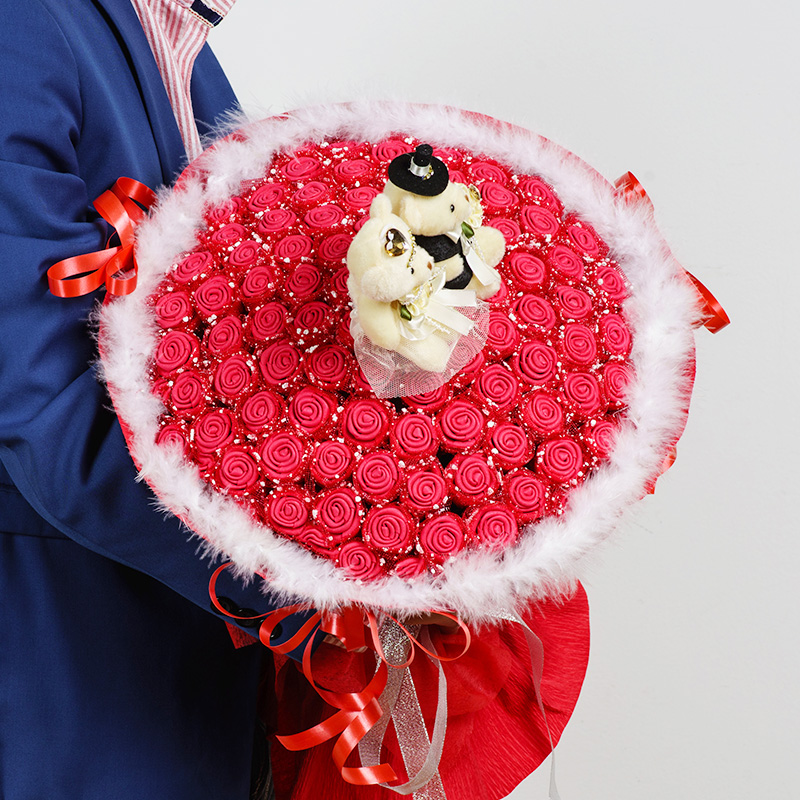 DIY simulation 33 rose origami flower bouquet foam sponge material ...