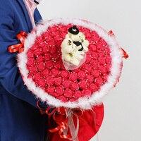 Diy simulatie 33 rose origami bloem boeket schuim spons materiaal pakket papier bloemen valentijnsdag gift sets