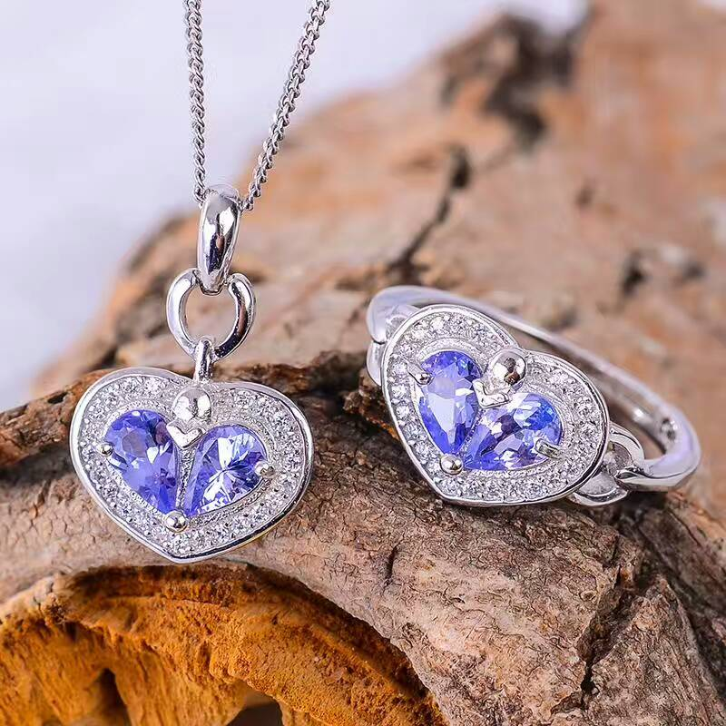 CoLife Jewelry romantic tanzanite heart jewelry set natural tanzanite silver ring pendant jewelry set solid silver jewelry set alloy panda pendant jewelry set