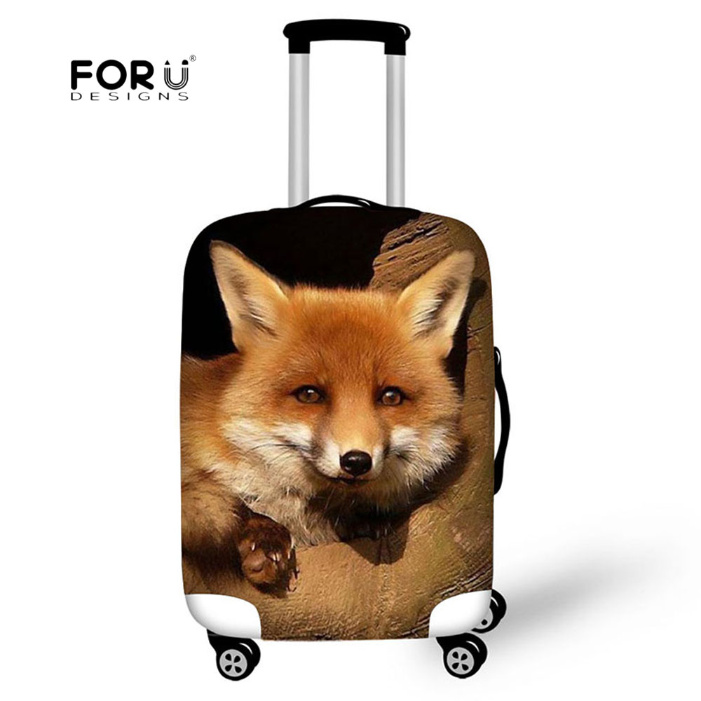 FORUDESIGNS 2019 Cute 3D Animal Fox Luggage Cover Travel Suitcase Protective Covers Elastic Thick Cover For 18-30 Inch Cases Bag