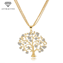 ATTRACTTO Fashion Jewelry Tree Of Life Pendants & Necklaces Women Gold Silver Color Crystal Jewelry Collares Necklace Sne160113