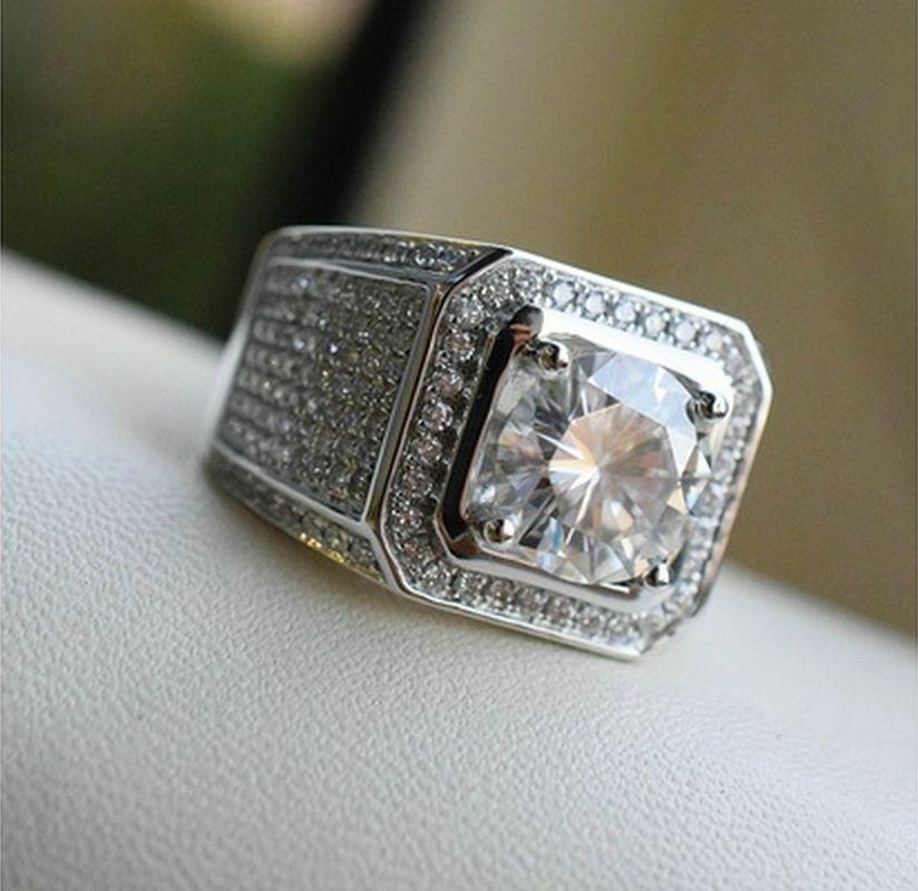 ERLUER Fashion Square grande del Color de plata cristal Zircon anillos para mujer hombre amor regalos de cumpleaños brillante exquisito anillo de la joyería