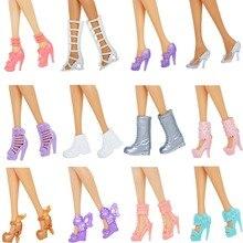 12 пар кукольных туфель; Разноцветные босоножки на высоком каблуке; разные аксессуары для кукол Барби; детские рождественские игрушки «сделай сам»