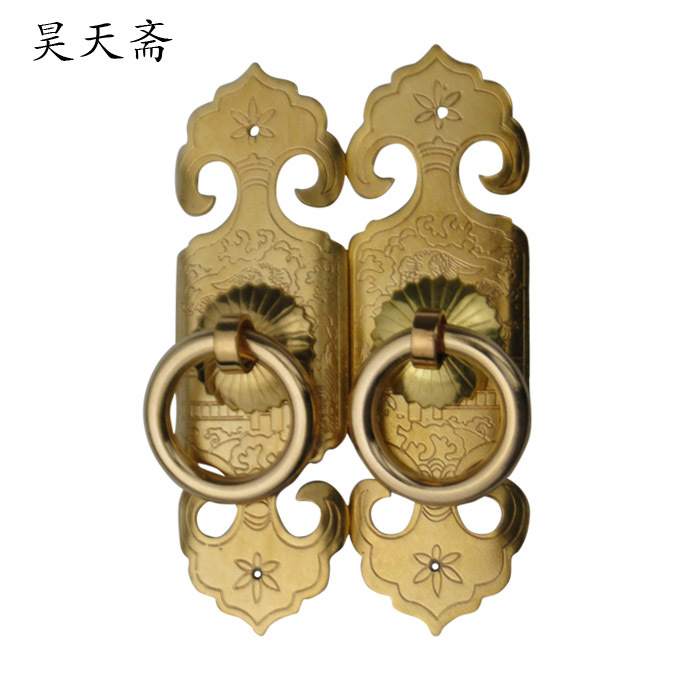 [Haotian vegetarian] bronze door handle Chinese antique copper door handle long 10CM HTC-264[Haotian vegetarian] bronze door handle Chinese antique copper door handle long 10CM HTC-264