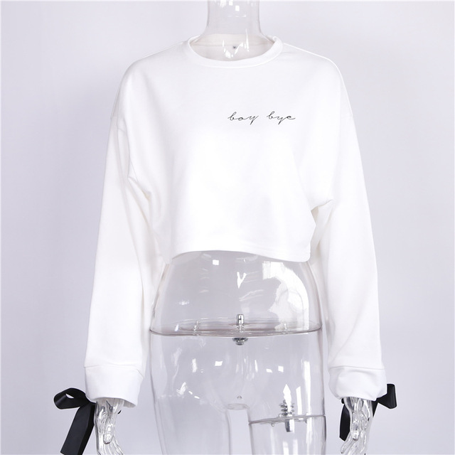 Fall / Winter Ladies Ins Embroidery Letter Loose Pullover 4