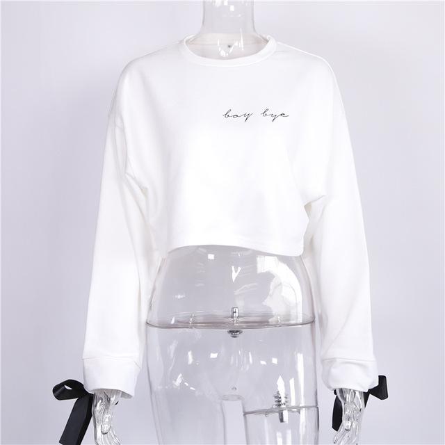 Women Cropped Top Kawaii Harajuku Embroidery Letter Loose Pullover Hoodies Jumper Sweatshirt