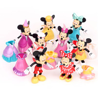 8 Pcs/Set 3D Cartoon Movie Anime Mickey Minnie Mouse Dressup Clothes PVC Dolls Toys For Girls Students Birthday Gifts toy 10CM