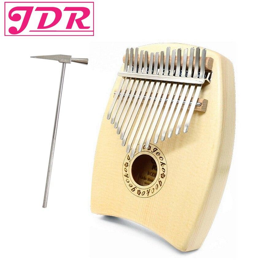 JDR Kalimba Spruce Wood Color Finger Thumb piano Keyboard 15 Keys Gecko Thumb Piano Teclado Musical