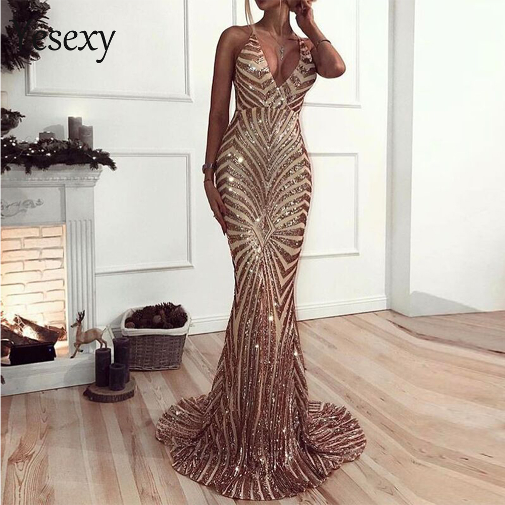 Yesexy 2019 Summer Women Sexy Deep V Elegant Backless Women Dresses Sequin Bodycon Maxi Party Dress