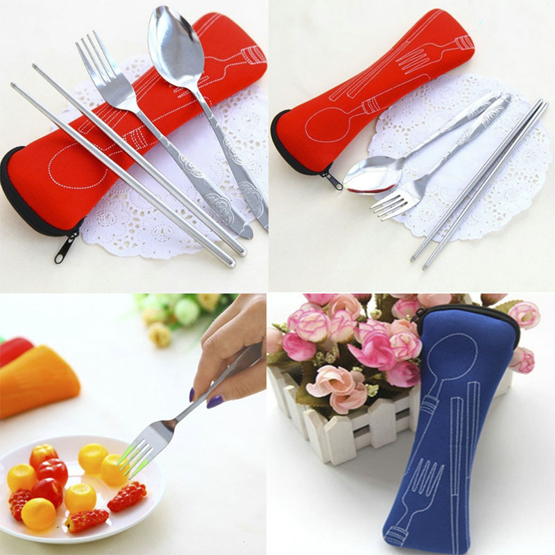 Newcomdigi Travel Kids Adult Cutlery 3Pcs/set Stainless Steel Portable Tableware Dinnerware Camping Cutlery Set Fork Set