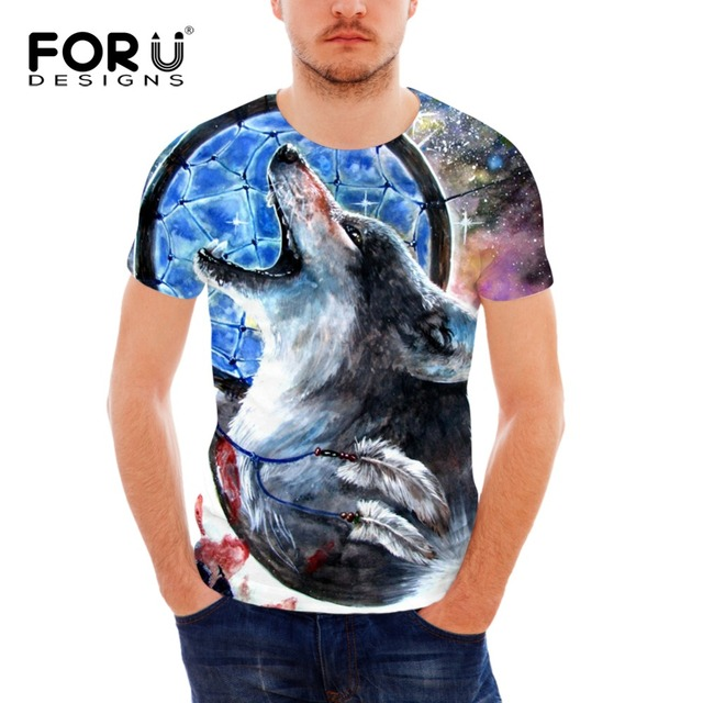 6795eb0e0 FORUDESIGNS Wholesale 3D Wolf T-shirt For Men Silm Fit Tops Tee Short  Sleeve Bodybuilding Slim Fit Top Tees Male Short Sleeved