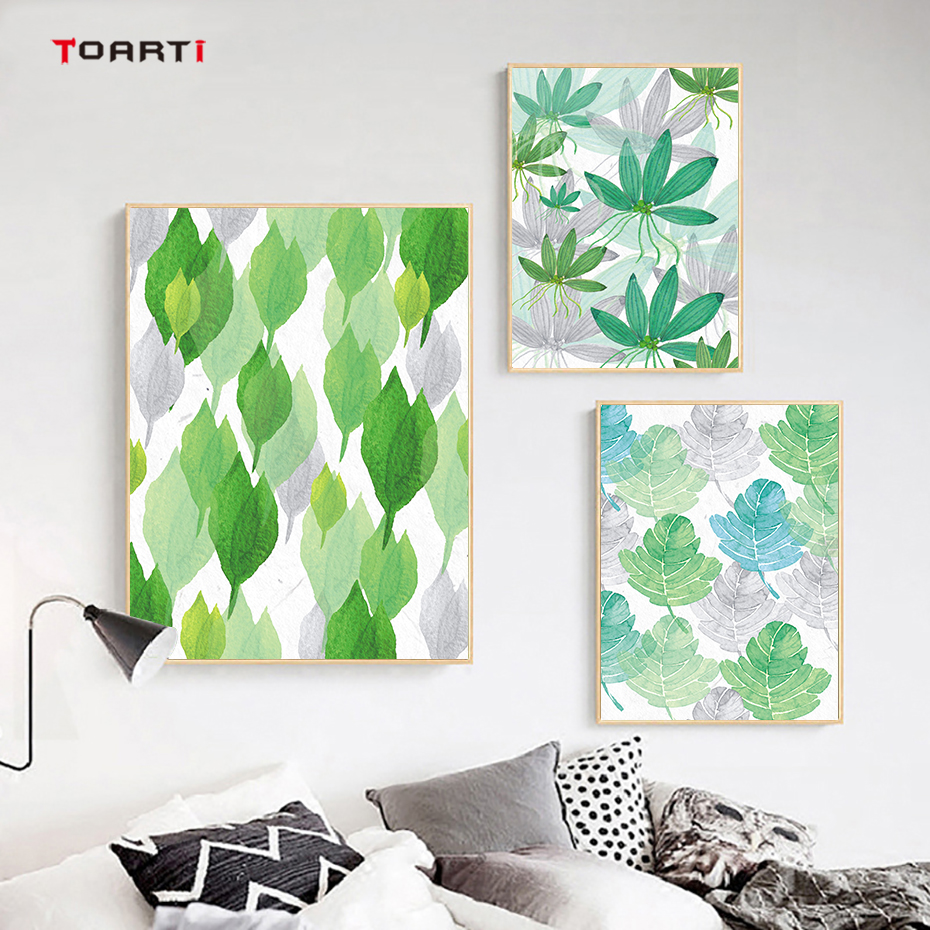 Tropical Plant Leaves Canvas Art Painting (2)