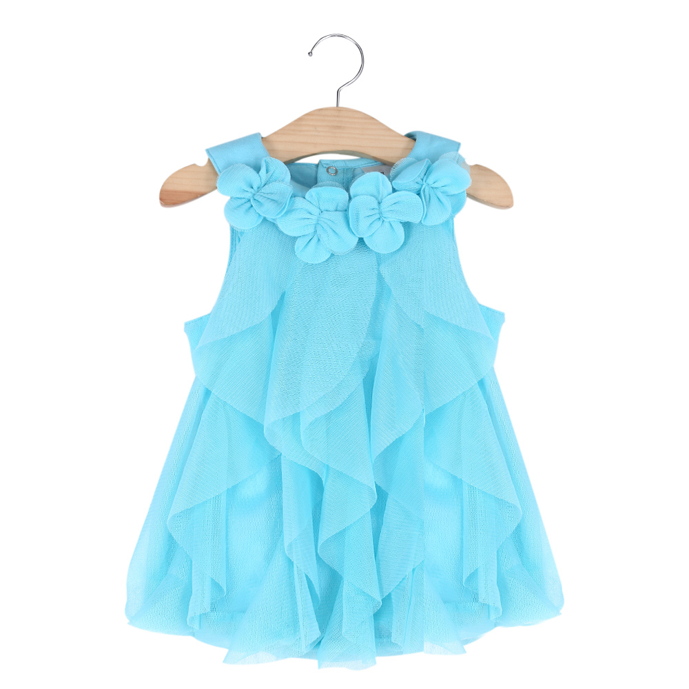 Sweet Flower Turn Down Collar Sleeveless Mesh Pure Color Baby Girls Dress frilled collar lace yoke sleeveless top