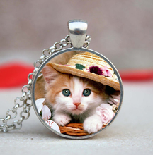 1 Pieces Lot Handmade Photo Glass Dome Pendant Cute Cats Jewelry Pet Necklace Can Custom