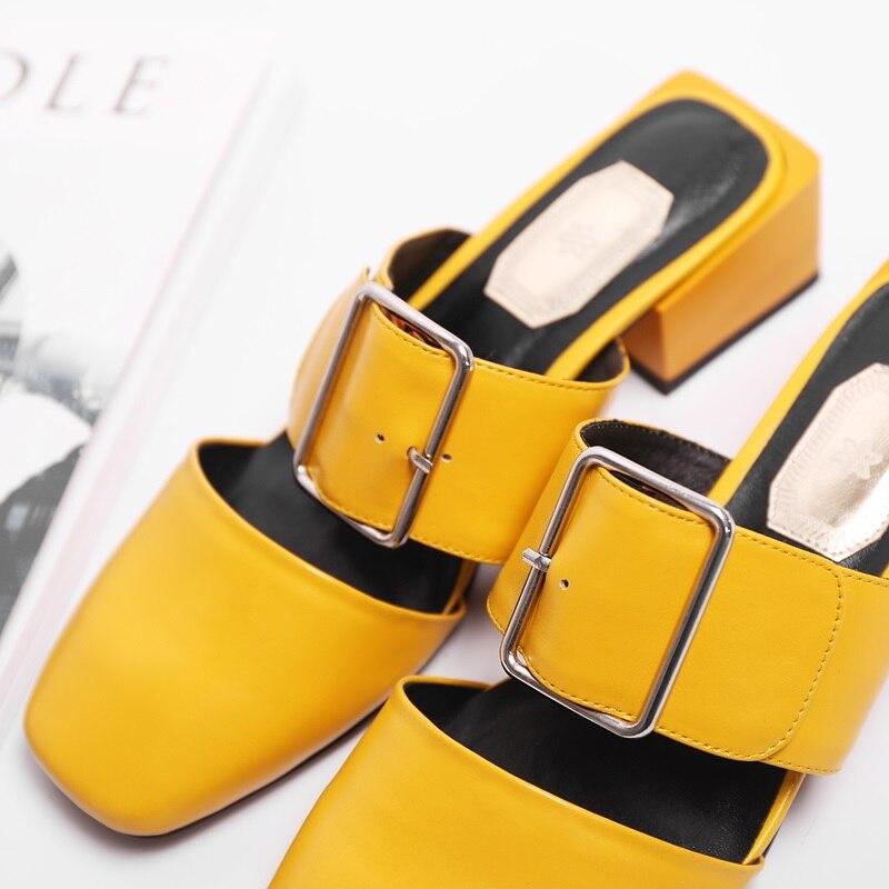 3 Hebilla yellow black Zapatos Sandalias Tacón Mujeres Moda Pie Del White  Bajo Verano Egonery De ... b81a9fcc15eb