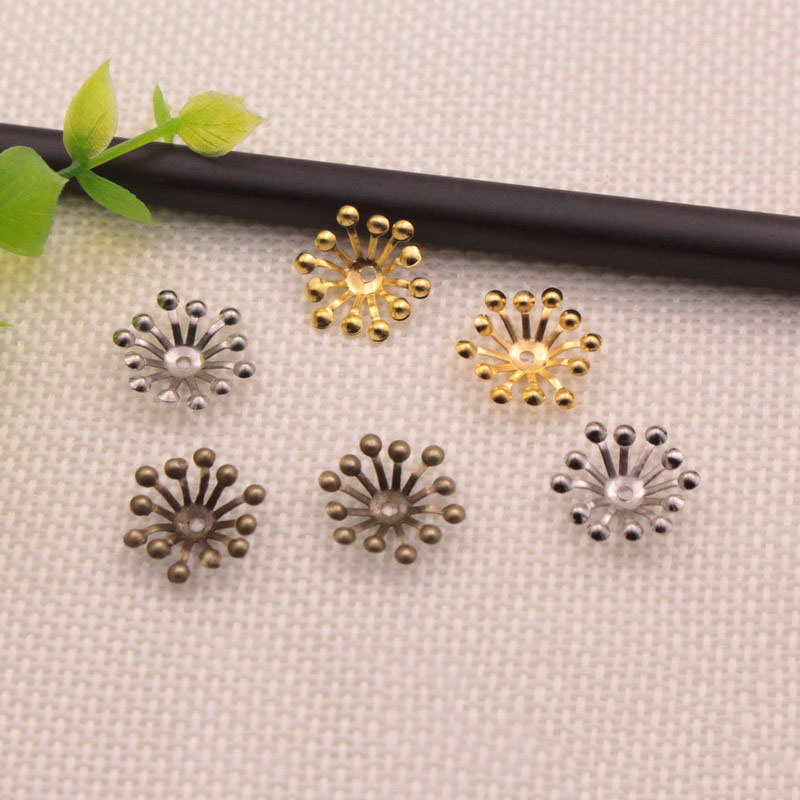 100pcs/lot 15mm Gold/Rhodium/Antique Bronze Filigree Flower Bead Caps Connectors Charms End Beads Cap For Jewelry Making
