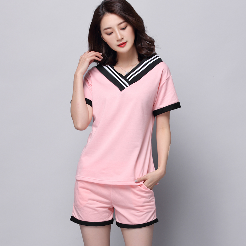 Spring 2019 Girls Pijamas Mujer Summer Comfortable Women   Pajamas     Sets   Short Sleeve Thin Cotton Home Wear Serve Lovely Sleepwear