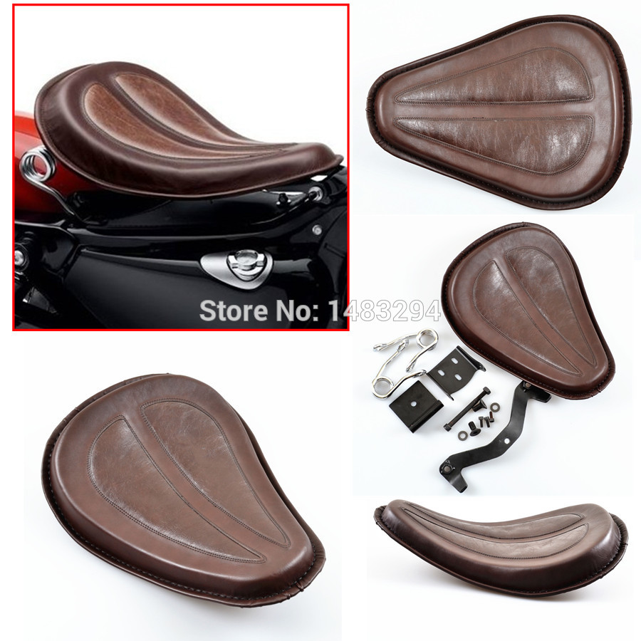 Motorcycle Brown Leather Solo Seat W/ Brackets Springs For Harley Sportster 883 1200 XL Bobber Chopper Custom / DHL shipping